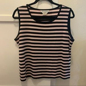 Misook striped knit top pink